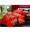 Boutique Staple Cotton Bright Red 4 Piece Duvet Cover Sets