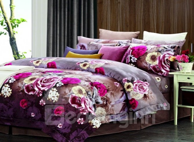 Floral Pattern with Royal Purple Background 4 Piece Staple Cotton Duvet Cover Sets