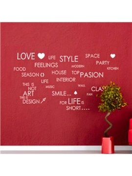 New Arrival Romantic English Letters Print Wall Stickers