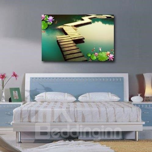 New Arrival Beautiful Lotus Leaves and Bridge Print Cross Film Wall Art Prints