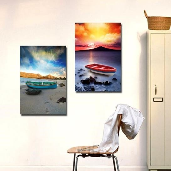 New Arrival Beautiful Boats on the Coast Colorful Print 2-piece Cross Film Wall Art Prints