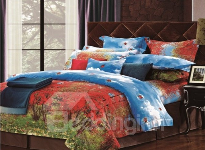 Red Jungle and Blue Sky Print 4 Piece Cotton Bedding Sets