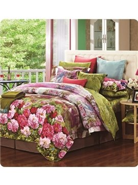 Beauty Peony Garden Print Staple Cotton 4 Piece Bedding Sets