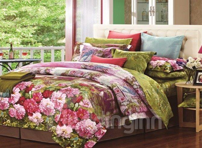 Beauty Peony Garden Print Staple Cotton 4 Piece Bedding Sets