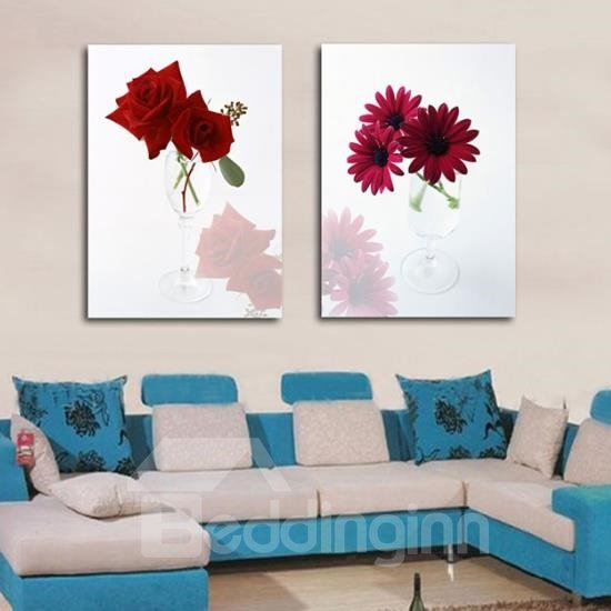 New Arrival Beautiful Red Roses and Daisies in Glass Print 2-piece Cross Film Wall Art Prints