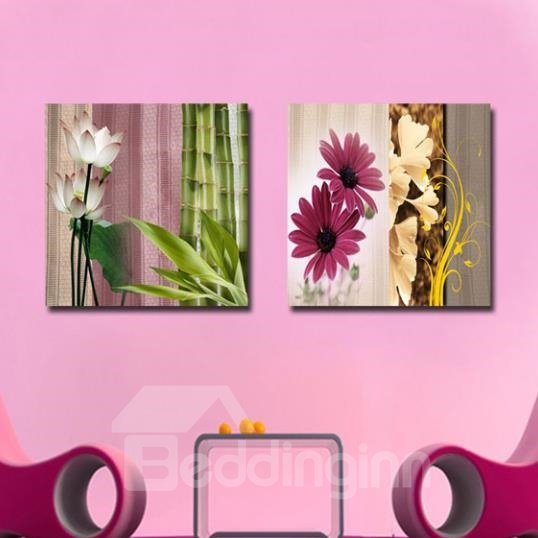 New Arrival Beautiful Colorful Flowers and Bamboo Print 2-piece Cross Film Wall Art Prints
