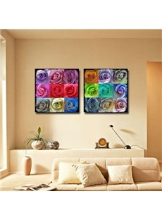 New Arrival Beautiful Colorful Roses Print 2-piece Cross Film Wall Art Prints