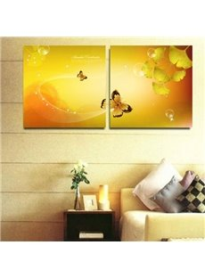 New Arrival Lovely Golden Butterfly and Leaves Print 2-piece Cross Film Wall Art Prints
