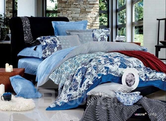 Sky Blue Geometry Pattern 4 Piece Cotton Duvet Cover Sets