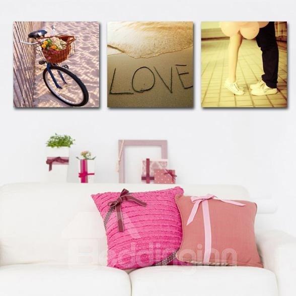 New Arrival Romantic Bike and Lovers Print 3-piece Cross Film Wall Art Prints