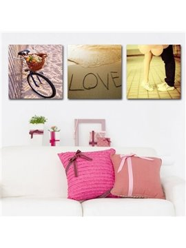New Arrival Romantic Bike and Lovers Print 3-piece Cross Film Wall Art Prints
