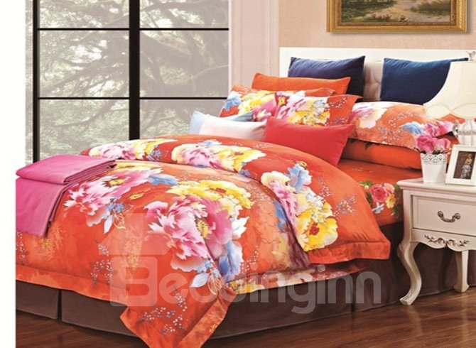 Colorful Peony with Orange Background Pattern 4 Piece Cotton Bedding Sets