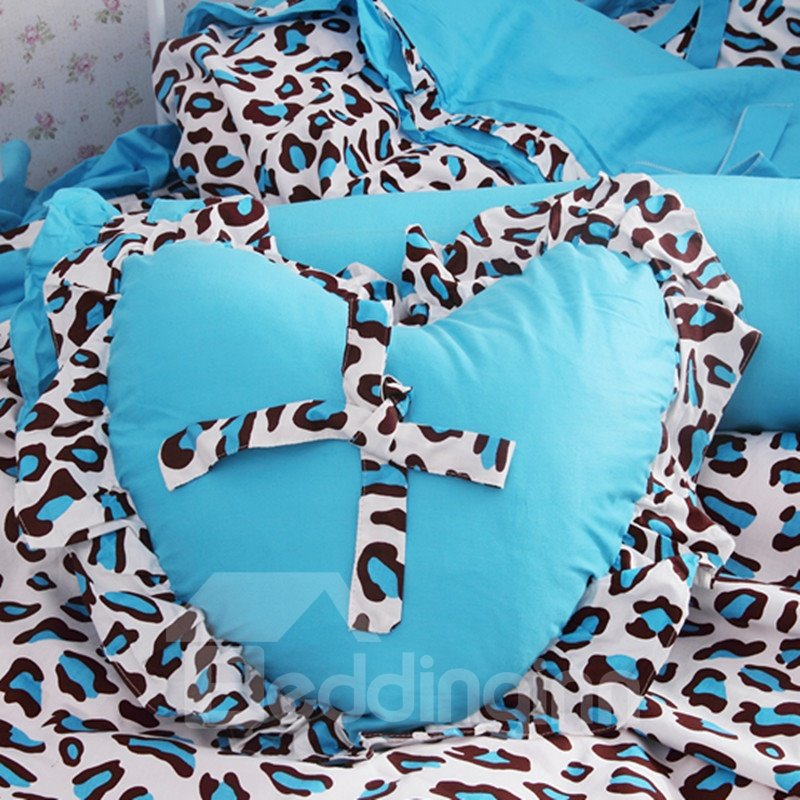 New Arrival Princess Style Pink Leopard Print Heart Shape Throw Pillow