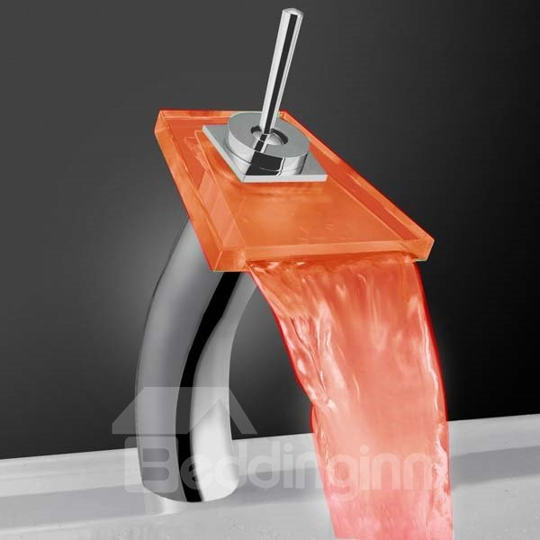 Contemporary LED Color-changing Luminous Heightened Trapezoid Glass Faucet