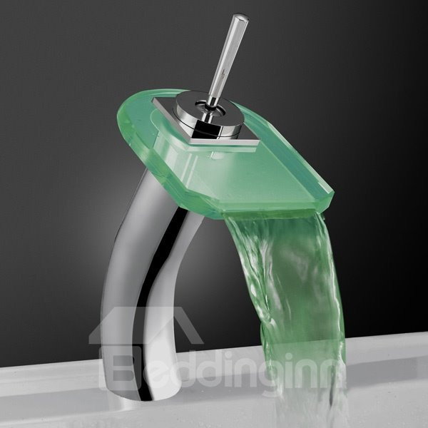 Contemporary LED Color-changing Luminous Heightened Ellipse Glass Faucet