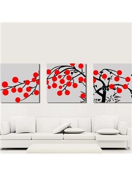 New Arrival Lovely Black Tree and Red Dots Print 3-piece Cross Film Wall Art Prints