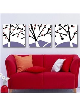 New Arrival Abstract Tree and Branches Print 3-piece Cross Film Wall Art Prints