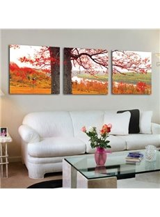 Beautiful Tree and Golden Red Leaves Print 3-piece Cross Film Wall Art Prints