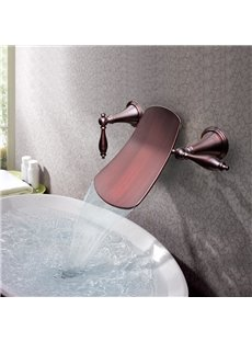 Contemporary Oil-rubbed Bronze Double Handles Widespread Waterfall Wall Mount Faucet