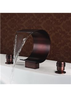Oil-rubbed Bronze Widespread Double Handles Waterfall Faucet