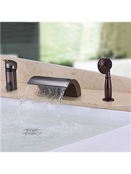 Low Arc-Shaped Single Handle Widespread Three Piece Waterfall Faucet