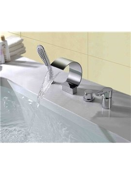 Contemporary Chrome Finish Double Handles Four Piece Waterfall Faucet