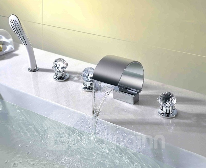 Contemporary Chrome Finish Crystal Handles Five Piece Waterfall Faucet