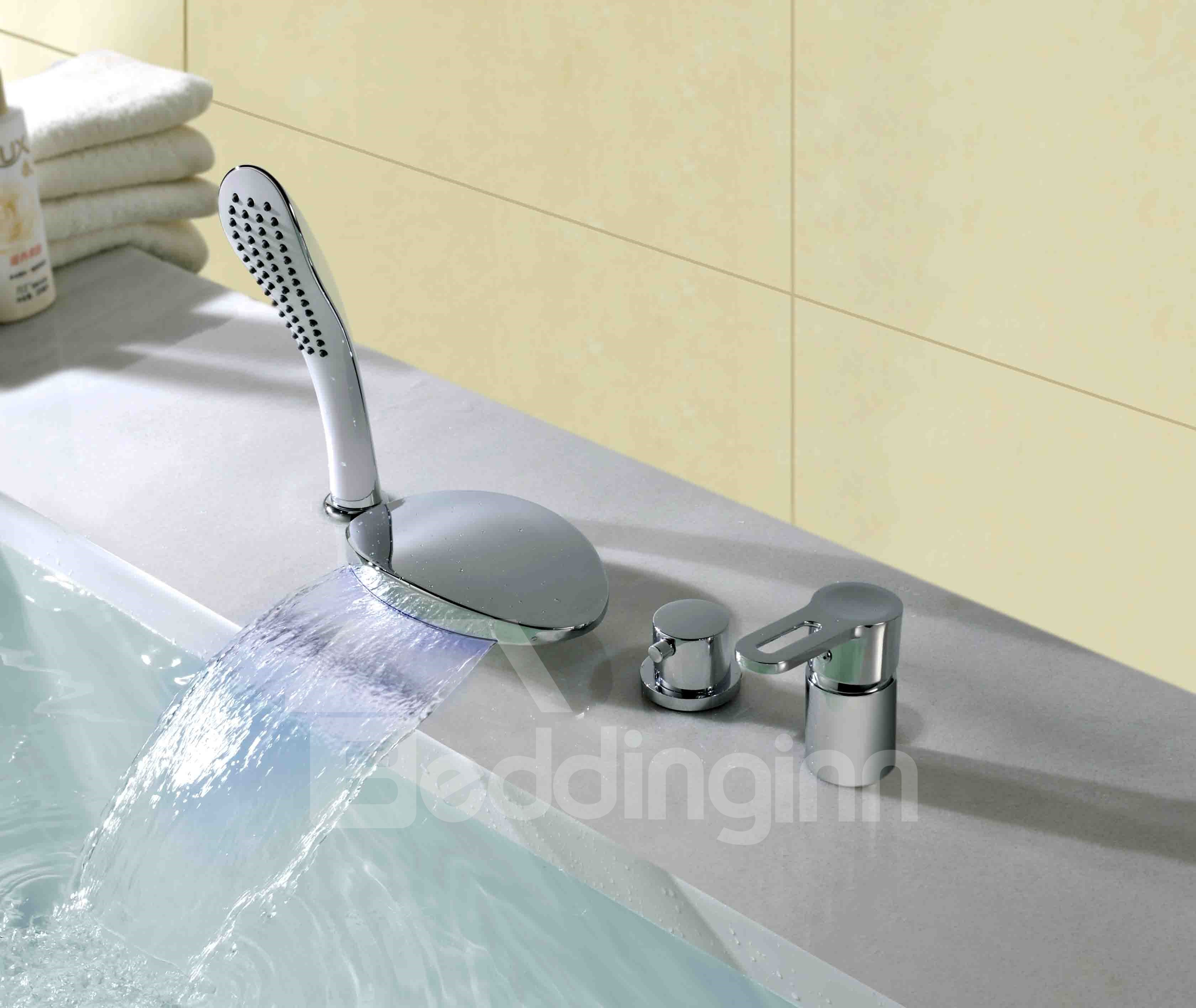New Arrival LED Color-Changing Double Handles Four Piece Round Waterfall Faucet
