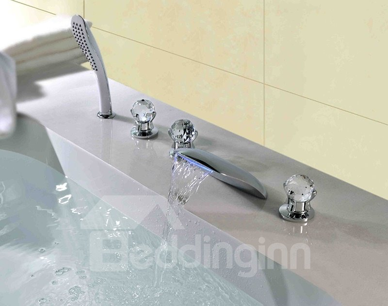 LED Color-Changing Crystal Handles Five Piece Waterfall Faucet