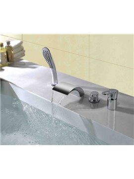Contemporary Arc-Shaped Double Handles Four Piece Widespread Waterfall Faucet