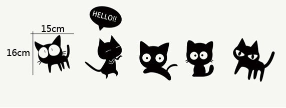 The Adventures of Little Black Cats Cartoon Wall Stickers