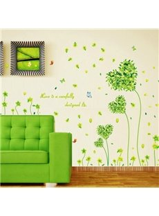 Green Love Grass and Flowers Wall Stickers