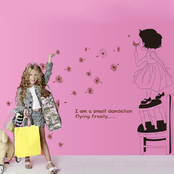 New Arrival Blowing Dandelion Girl Wall Stickers