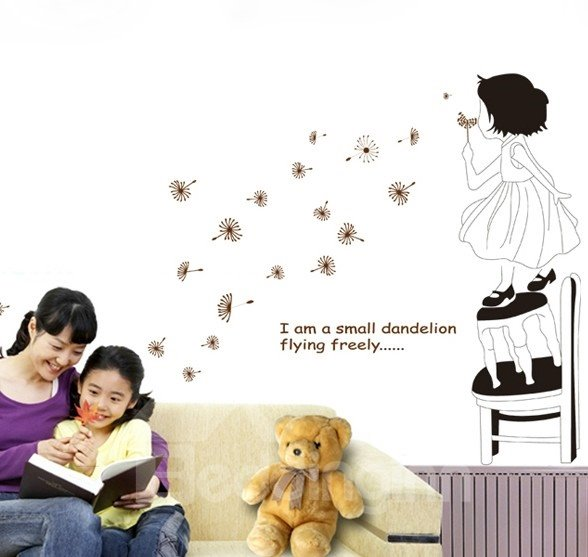 Removable Blowing Dandelion Girl Print Wall Stickers