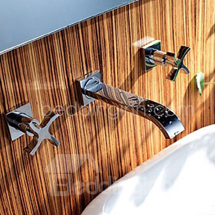 Double Cross Handles Waterfall Wall Mount Sink Faucet