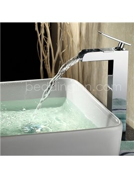 New Arrival Cuboid Handle Widespread Waterfall Sink Faucet