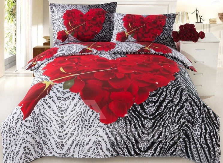 3D Heart-shaped Red Rose and Animal Print Cotton 4-Piece Bedding Sets