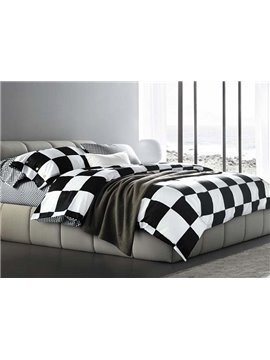 FashionBlack and White Checkered Squares Cotton Bedding Sets