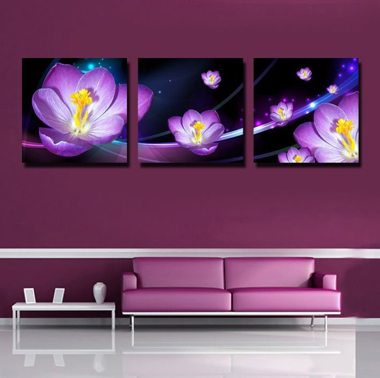 Purple 3D Flowers Print 3-piece Cross Film Wall Art Prints