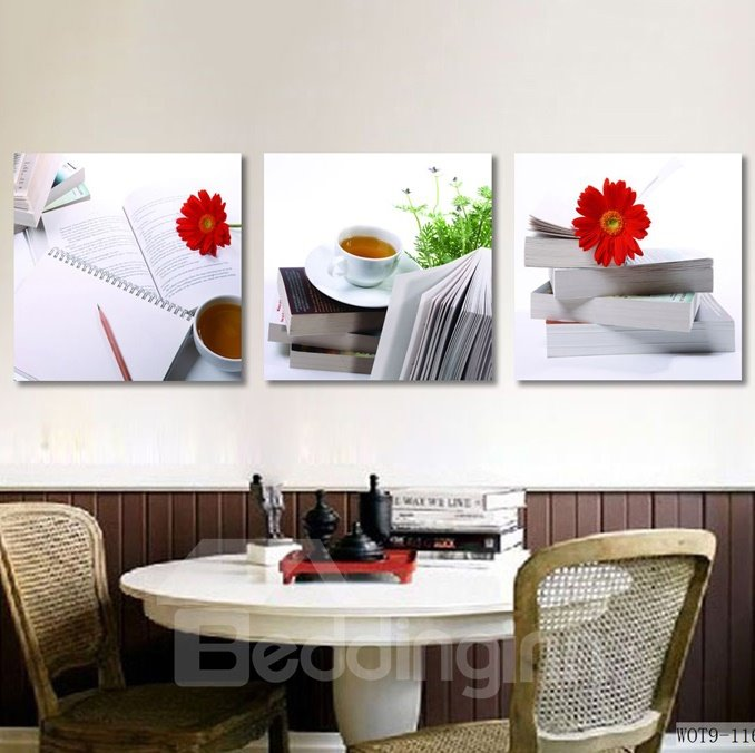 Quiet Coffee and Books 3-piece Cross Film Wall Art Prints