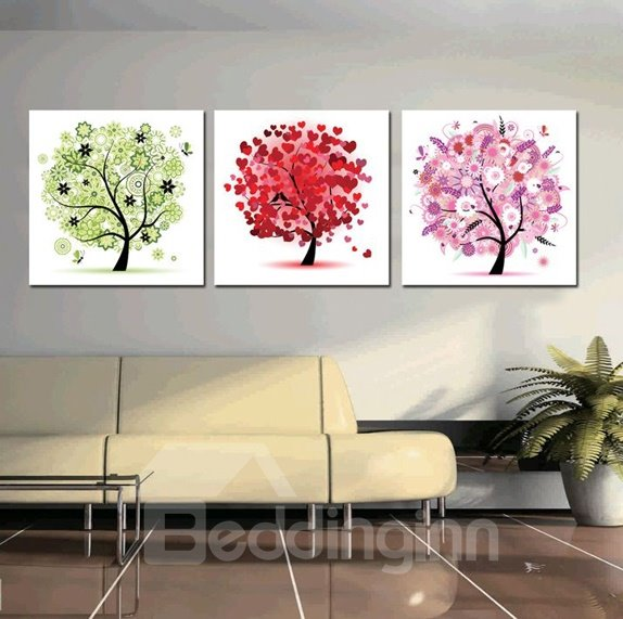 New Arrival Three Different Color Trees Print 3-piece Cross Film Wall Art Prints