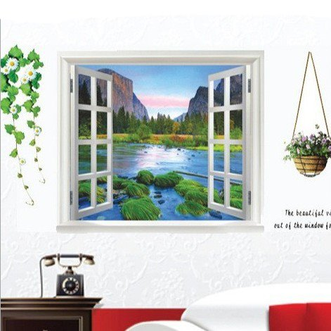 Mountains Surrounding River and Flower Basket 3D Window Wall Sticker Set