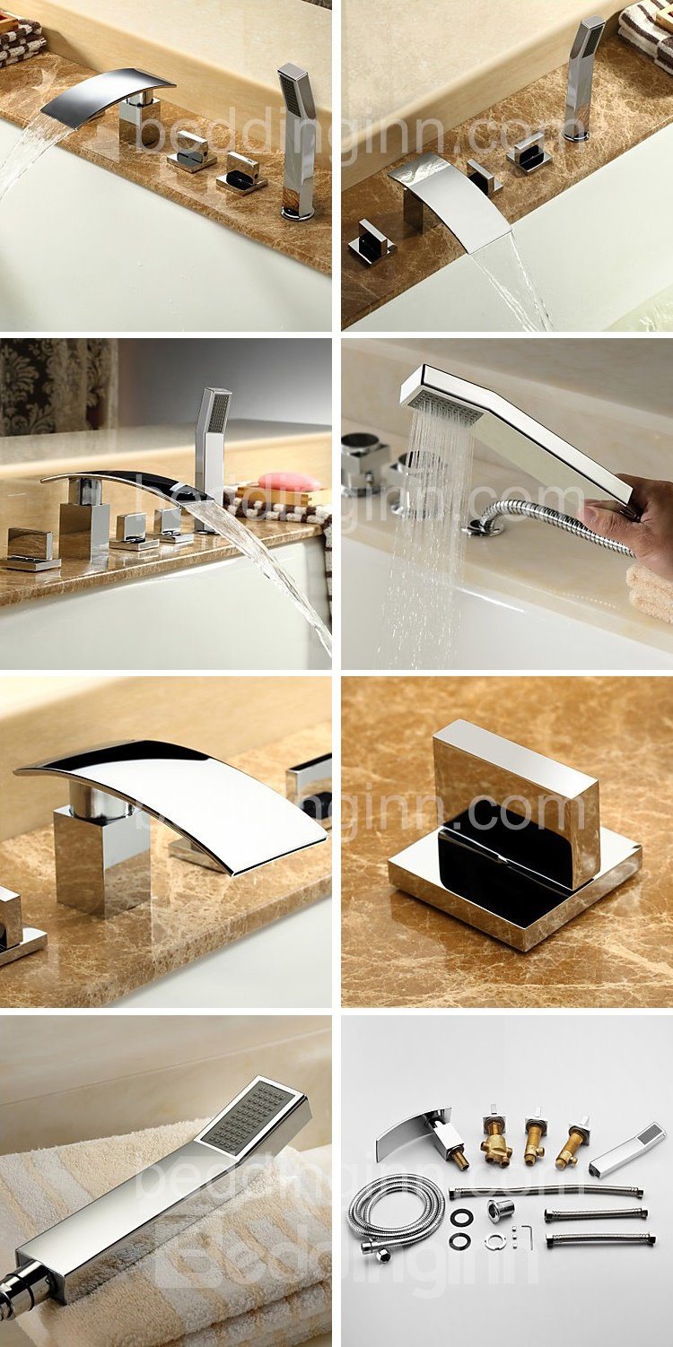 Modern Chrome Finish Three Handles Widespread Waterfall Bathtub Faucet