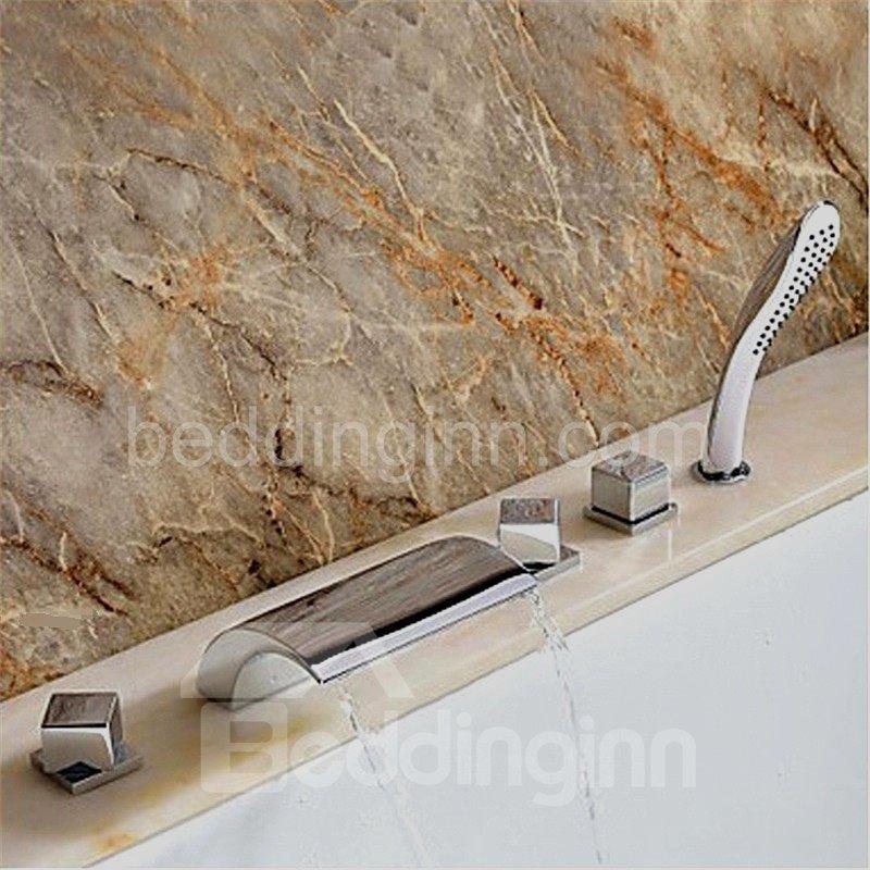 New Arrival Arc Widespread  Waterfall 5 Piece Brass Bathtub Faucet