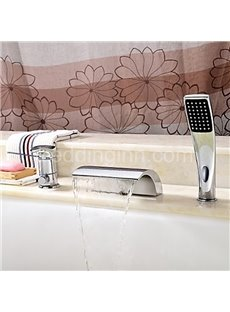 Contemporary Low Arc  Widespread Waterfall Brass Bathtub Faucet