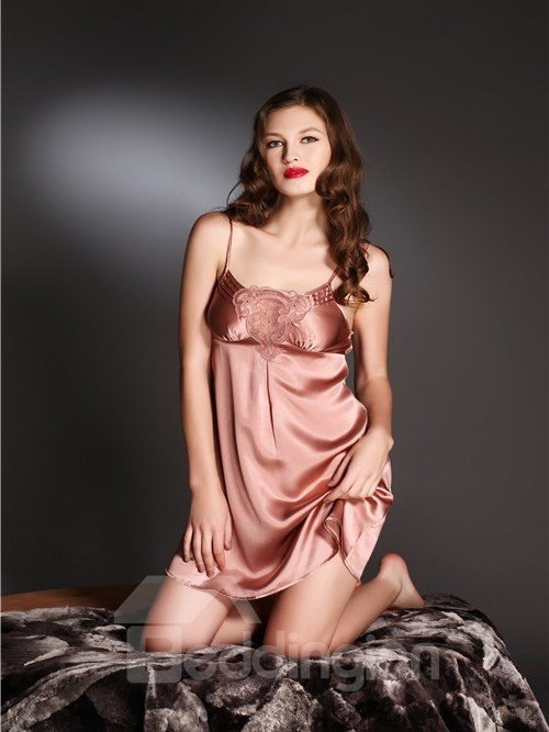 High Quality Flower Solid Color Mulberry Silk Chemise