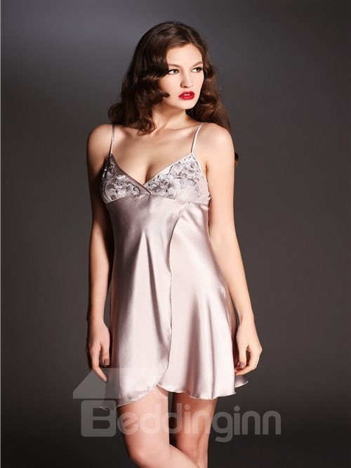 High Quality Flowers Border Fancy Mulberry Silk Chemise