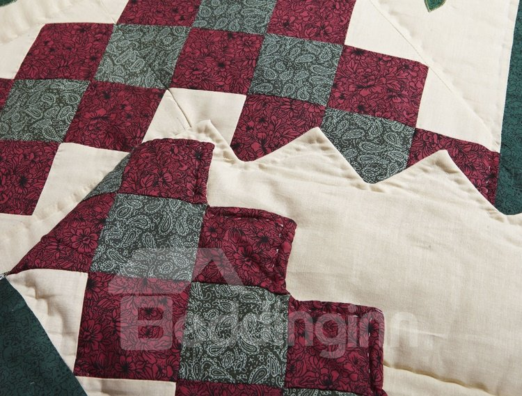 New Arrival Handmade Square and Floral Embroidery Air-Conditioned Three-Piece Bedding Sets