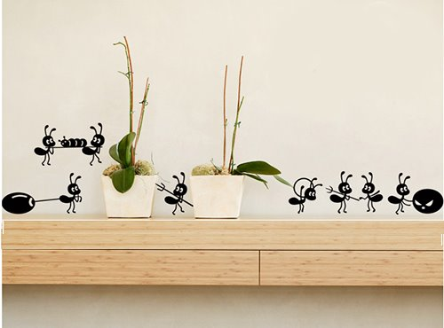 Black Cute Little Ants Moving Pattern Glass Wall Stickers