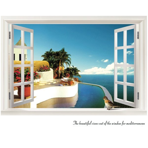 Blue Mediterranean Sea and Tree Outside the Window 3D Wall Stickers